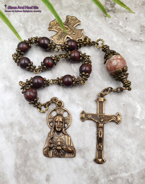 Sacred Heart of Jesus Red Jasper Mexican Crazy Agate Bronze Chaplet
