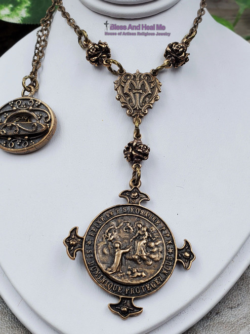 Our Lady of The Rosary Bronze Ornate Antique Style Catholic Necklace Pendant