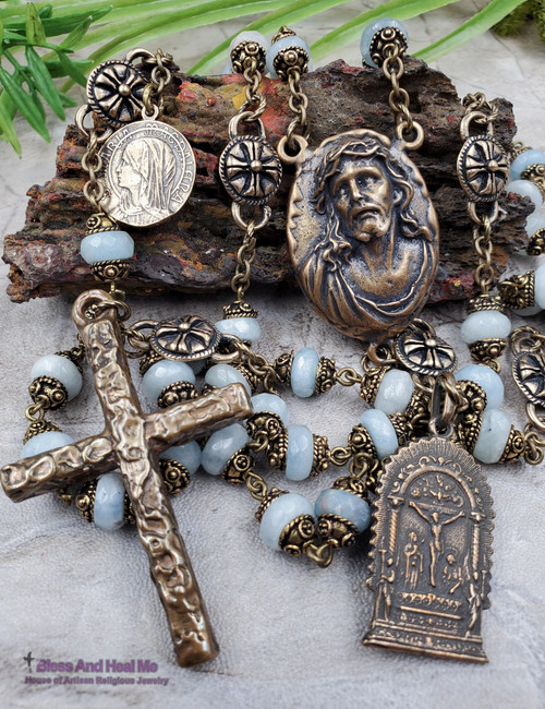 Jesus with Crown Of Thorns Virgin Mary Lord of Miracles Aquamarine Antique style Bronze Mens Rosary Peace,Harmony, Compassion.