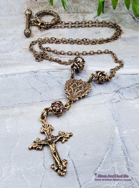 Solid Bronze Ornate Antique Style Roses Catholic Crucifix Pendant Necklace