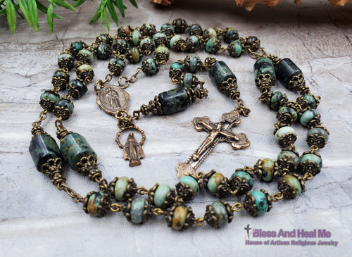St Jude Miraculous Mary Fatima Bronze African Turquoise Green Kambaba Jasper Ornate Rosary Danger Injuries Protection Prosperity Stress