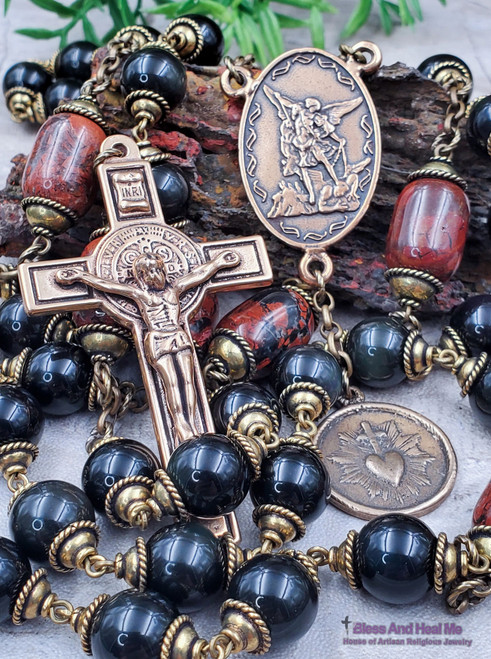 St Michael Sacred Immaculate Heart Benedict Black Onyx Red Jasper Large Bronze Wall Display Mens Rosary Protection Courage