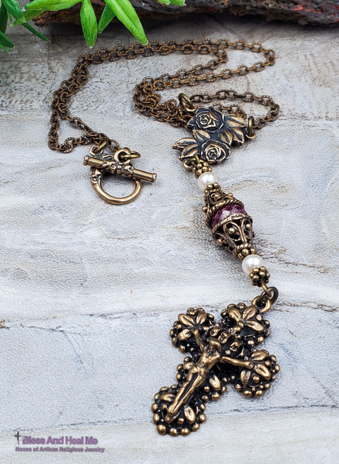 Miraculous Mary Roses Red Ruby Pearls Solid Bronze Ornate Antique Style Catholic Crucifix Necklace Pendant Love Loyalty July birthstone