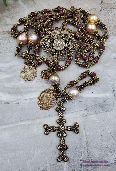 Virgin Mary Sacred heart Miraculous Natural Ruby Keshi Pearls Ornate Antique style Bronze Rosary Love,Faith,loyalty,Abundance,July stone