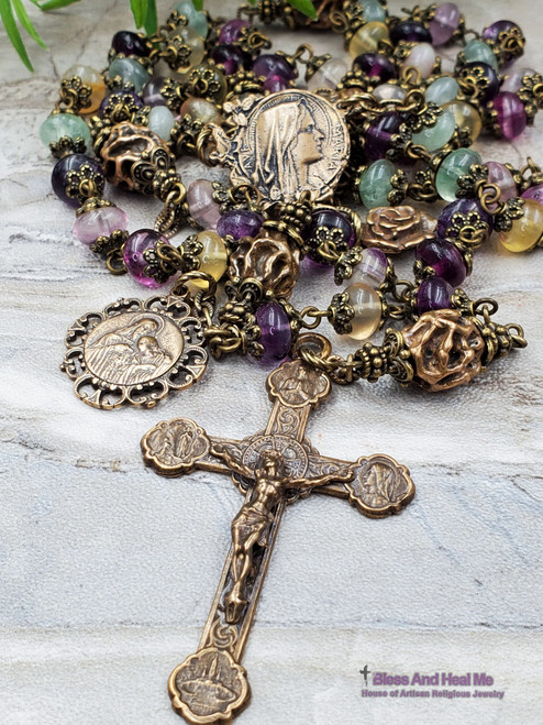 Blessed Virgin Mary Lourdes Jesus Embrace Purple Fluorite Solid Bronze Antique Style Rosary Peace Harmony Protection Spiritual Connection