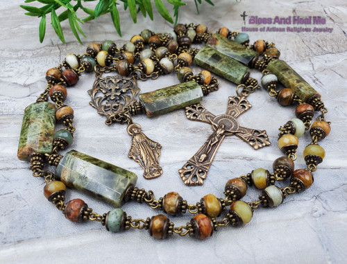 Lady of Grace Miraculous Jade Green Garnet Bronze Antique Style Rosary Health Love Longevity Protection Stress Good luck