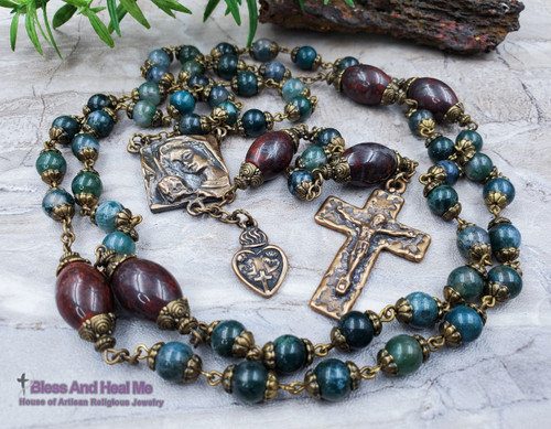 Mother Mary Baby Jesus Sacred Heart Green Agate Red Jasper Bronze Antique Style Ornate Rosary Love Devotion Protection Optimism Abundance