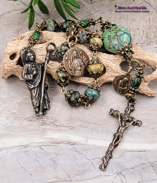 St Jude Raphael Lord of Miracles Turquoise Bronze Antique Style 1 decade Chaplet Healing Desperate Situations Harm Insuries Protection
