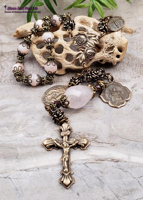 St Agatha Lourdes Miraculous Roses Breast Cancer Pink Pearl Shell Rose Quartz Garnet Bronze 1 Decade Rosary Chaplet Healing Joy Love Purity