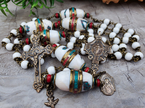 Miraculous Mary Sacred Heart Mother of Pearl Red Coral Southwestern Bronze Ornate Large Rosary Purity Protection Wisdom Prosperity