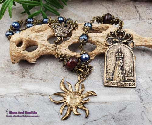 Our Lady of Fatima Devotional Blue Agate Red Jasper Ornate Handcrafted Gemstone Chaplet Vitality,Protection,Harmony,Strength,Miracles