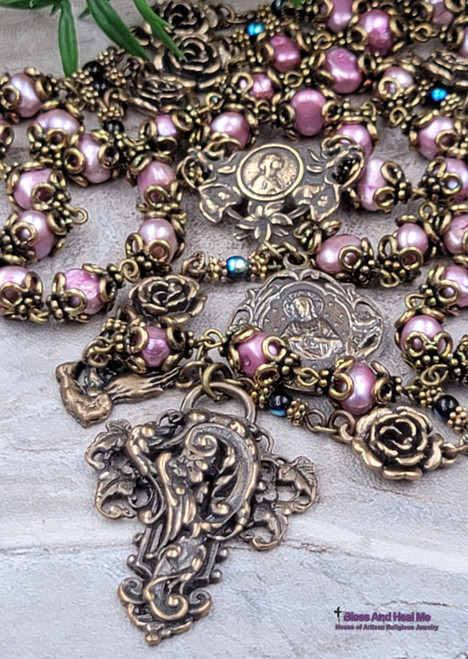 Blessed Virgin Mary Sacred Heart Roses Purple Pearls Bronze Antique Victorian Style Ornate Rosary Happiness Joy Love Good luck Prosperity