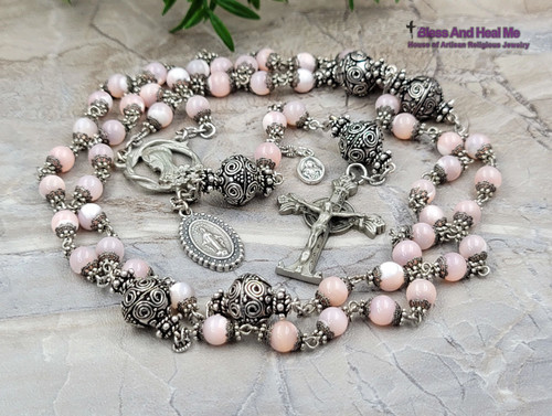 Virgin Mary Miraculous Sacred Heart Pink Pearl shell Silver Pewter Antique Style Ornate Rosary Love Devotion Protection Optimism Abundance