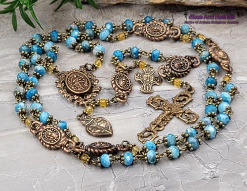 Mary Undoer of knots Tween Hearts Anthony Infant of Prague Larimar Citrine Bronze Ornate Antique Style Rosary Love Joy Faith Hope Serenity
