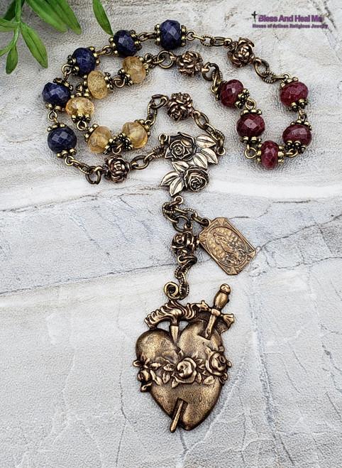 Immaculate Heart of Mary Devotional Roses Natural Sapphire Ruby Citrine Bronze Ornate Chaplet Hope Faith Joy Loyalty Abundance