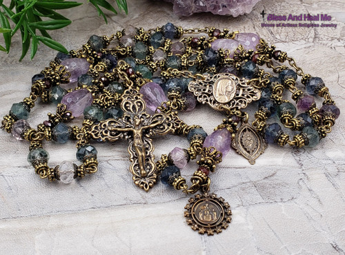 Virgin Mary Sacred Heart Fluorite Amethyst Bronze Ornate Filigree Antique Style Rosary Peace Harmony Protection Spiritual Connection