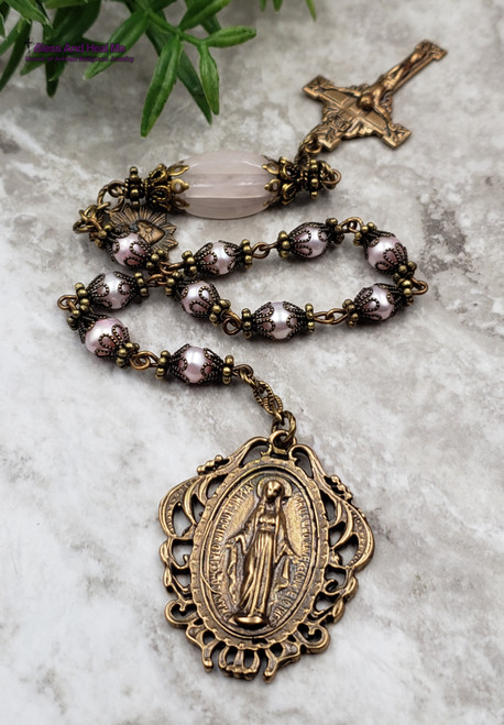 Miraculous Mary Sacred Heart Pink Pearl Rose Quartz Bronze Antique Style Chaplet