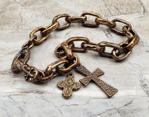 Mens Chunky Solid Bronze Heathy Links Cross Faith Artisan Bracelet with Jude Michael Joseph Raphael Saint of your choice.
