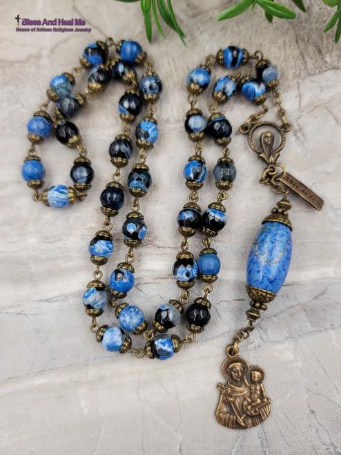 St Anthony Devotional Blue Black Agate Jasper Antique Style Bronze Chaplet Mothers Grandparents Protection Optimism Vitality Success Stress
