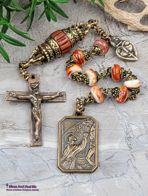 The Lord Bless You And Keep You Prayer Tween Hearts Spiny Oyster Red Coral Bronze Ornate Chaplet Joy Loyalty Protection Wisdom Prosperity