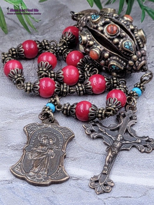 Sacred Heart Mother Mary Perpetual Help Red Coral Turquoise Ornate Bronze Antique Style Rosary Chaplet danger injury protection health