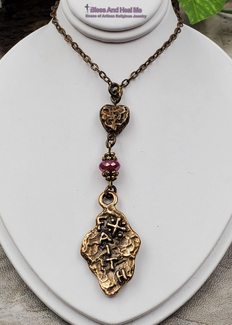 Pink Ruby Heart Faith Solid Bronze Ornate Antique Style Artisan Christian Catholic Cross Necklace Pendant Happiness Loyalty July birthstone
