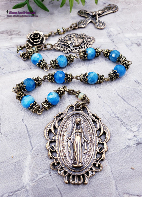 Miraculous Mary Sacred Heart Rose Blue Apatite Welo Fire Opal Bronze Ornate Lace Antique Style Chaplet Spiritual communication