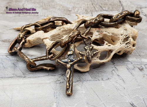 Mens Chunky Solid Bronze Links Crucifix Faith Artisan Catholic Christian Bracelet with Holy Spirit