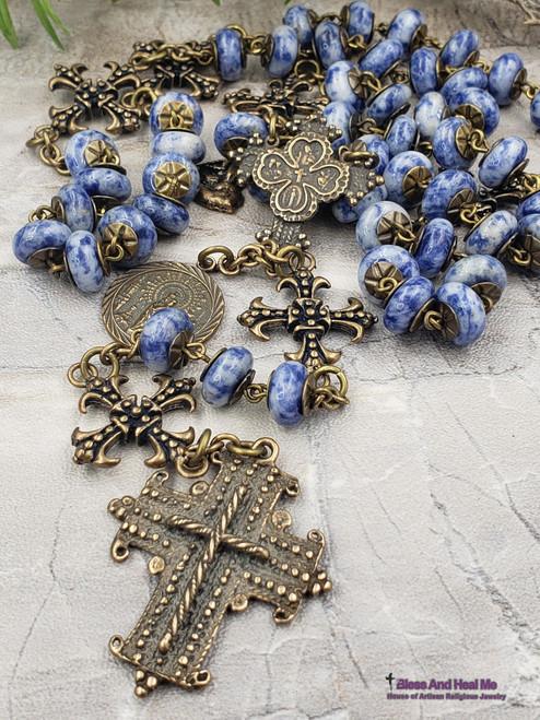 Sacred Heart Miraculous Lady of the Pillar St Joseph Christopher Blue Spot Jasper Bronze Coptic Artisan Handcrafted Rosary stress protection