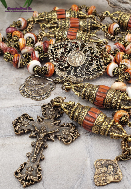 Virgin Mary Assumption Sacred Heart Spiny Oyster Red Coral Bronze Ornate Antique Style Rosary Joy Loyalty Protection Wisdom Prosperity
