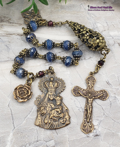 Crown Mother Mary Blue Kyanite Antique Style Ornate Bronze Gemstone Rosary Chaplet for health,happiness,good luck,spiritual communication