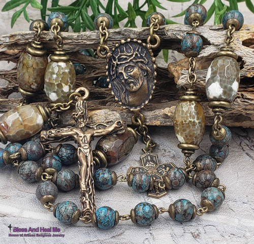 Ecce Homo Face of Jesus Crown of Thorns Sacred Heart Joseph Christopher Blue Green Agate Bronze Mens Rosary Joy Loyalty Success