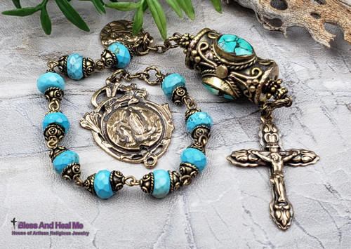 Our Lady of Lourdes Perpetual Help Turquoise Bronze 1 decade Gemstone Heirloom Chaplet danger injury protection health prosperity