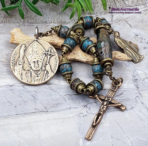 John Paul II Our Lady of Grace Blue Agate Bronze Gemstone 1 decade Rosary Chaplet Love Joy Hope Loyalty