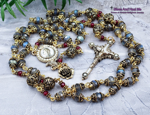 Pearls of Mary Blessed Virgin Mary Labradorite Red Agate Ornate Antique Style Gold Rosary Faith Communication with higher power