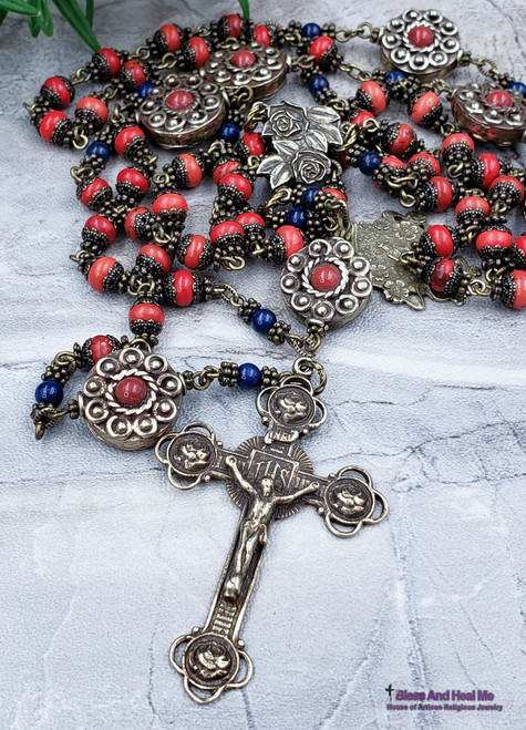 Miraculous Mary St Anne Roses Red Howlite Coral Lapis Antique Style White Bronze Gemstone Rosary Stress Abundance Parents protection