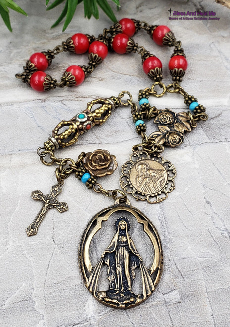 Miraculous Mary Jesus Embrace Roses Red Coral Turquoise Ornate Bronze Antique Style Rosary Chaplet danger injury protection health