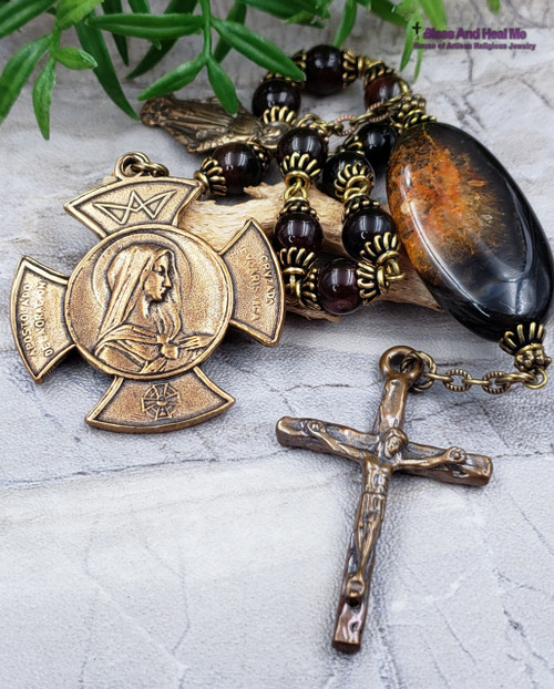 Sacred Heart of Jesus Immaculate Heart of Mary Miraculous Black Agate Large Rosary Chaplet Protection Courage Prosperity