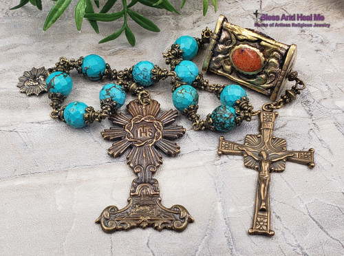 Holy Sacraments Monstrance Lamb of God Turquoise Red Coral XLarge Bronze Antique style Chaplet Healing Protection from Sickness&Danger