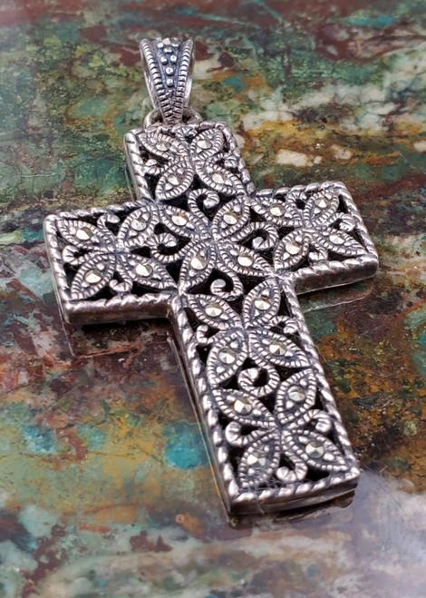 Sterling Silver Markazite Ornate Cross Necklace Pendant Large