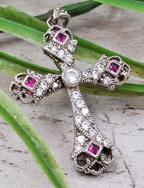 Sterling Silver Ruby Cubic Zirconia Ornate Cross Necklace Pendant Medium