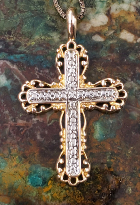 Sterling Silver Gold plated Ornate Cross Necklace Pendant Medium