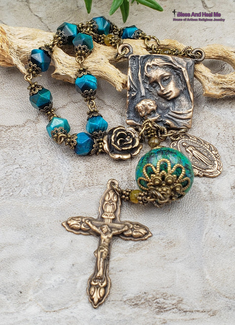 Mother Mary Baby Jesus Miraculous Mary Blue Tiger Eye Chrysocolla Bronze One Decade Antique Style Rosary Chaplet Protection Good Luck