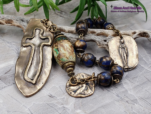 Blessed Virgin Mary Mary Guardian Angel Blue Quartz Turquoise Bronze 1 decade Modern mens Chaplet danger injury protection health