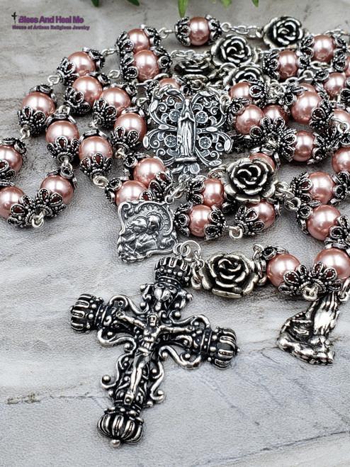 Virgin Mary Jesus Embrace Pompeii Roses Pink Pearl Shell Sterling pltd Ornate Filigree Antique Style Rosary Joy Love Devotion Happiness