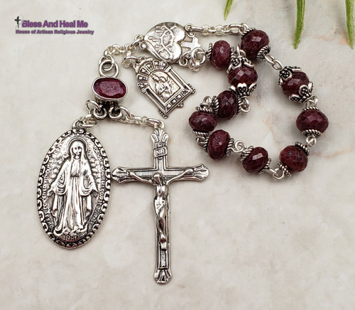 Miraculous Mary Mother Mary Sacred Heart Infant of Prague Ruby Sterling Silver Ornate Antique Style Chaplet Joy Loyalty Love July Birthstone