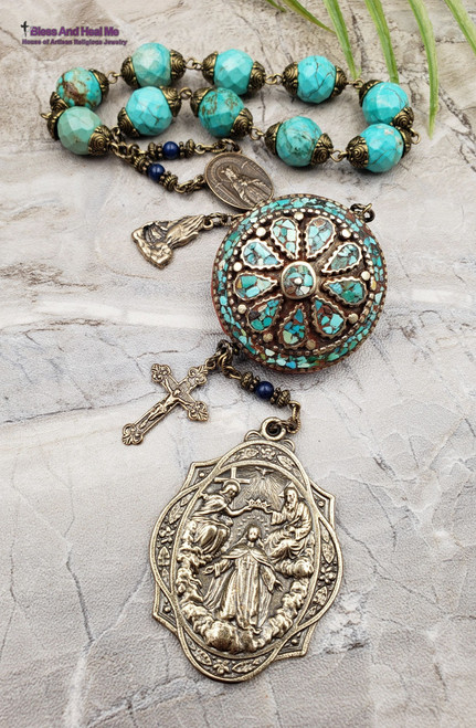 Assumption of Mary Queen of Heaven Sacred Immaculate Heart Holy Trinity Turquoise Red Coral Bronze XLarge Heirloom Chaplet