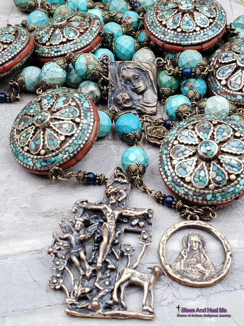 Mother Mary Lamb of God Angel Sacred Heart Turquoise Red Coral Bronze Ornate Heirloom Large Wall Rosary Protection Stress