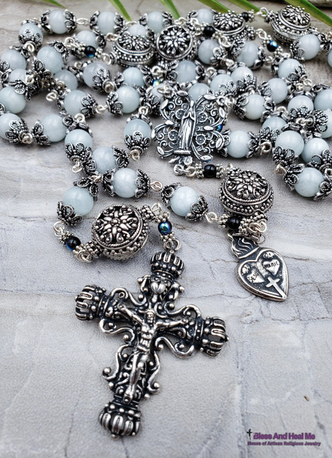 Virgin Mary Sacred Immaculate Hearts Aquamarine Antique style Ornate Sterling pltd Rosary Peace,Harmony, Compassion, Spiritual communication