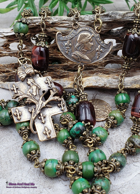 Joan of Arc Michael Green Turquoise Red Tiger Eye Bronze Antique Style Rosary Danger Injuries Protection Prosperity